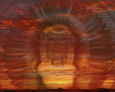 Red Photograph - Sunset Warrior by Lori Seaman