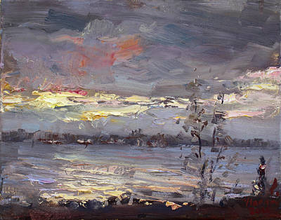Buffalo River Painting - Sunset by Ylli Haruni
