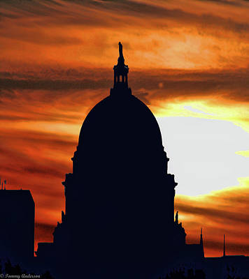 Photograph - Sunset Over The Wisconsin State Capitol by Tommy Anderson