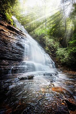 Sunshine At The Waterfall Print by Debra and Dave Vanderlaan