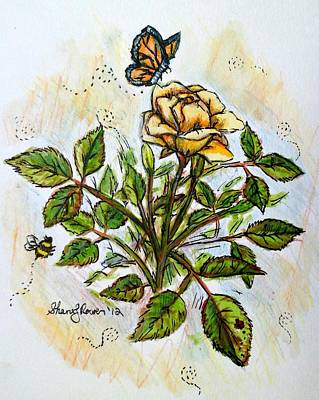 Ladybug Drawing - Sunshine In My Garden by Shana Rowe Jackson