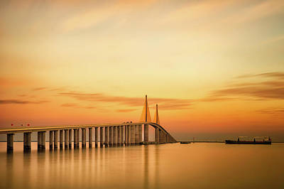 Built Structure Photograph - Sunshine Skyway Bridge by G Vargas