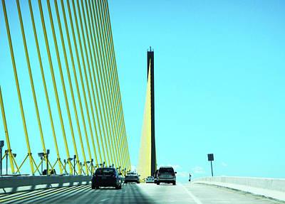 Sunshine Skyway Bridge Photograph - Sunshine Skyway Bridge Tampa Bay by Marilyn Hunt