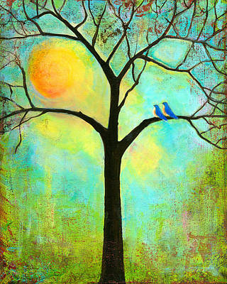 Bluebird Painting - Sunshine Tree by Blenda Studio