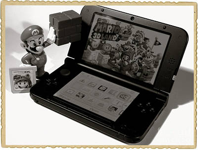 Super Mario Black And White Print by Stefano Senise
