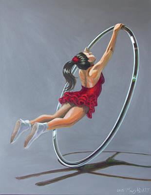 Supergirl On Cyr Wheel  Original by Mary AD Art