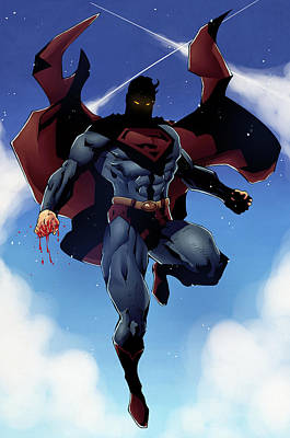 Superman Hovering With Bloody Fists Original by Jeremy Tisler