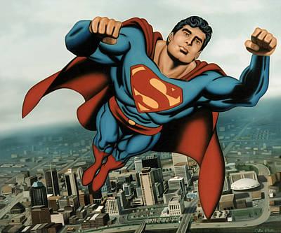 Surreal Painting - Superman by Van Cordle