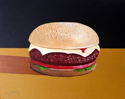 Cheeseburger Painting - Supersize Me by Tony Gunning