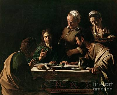 The Church Painting - Supper At Emmaus by Michelangelo Merisi da Caravaggio
