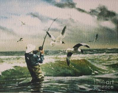 Bass Fishing Drawing - Surf Casting For Striped Bass At Gull Rock by Bill Hubbard