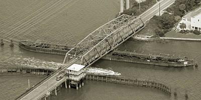 Pender Photograph - Surf City Swing Bridge Sepia by Betsy Knapp