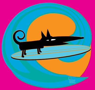 Surf Dog Tube Riding Print by Surf Dog Maximus