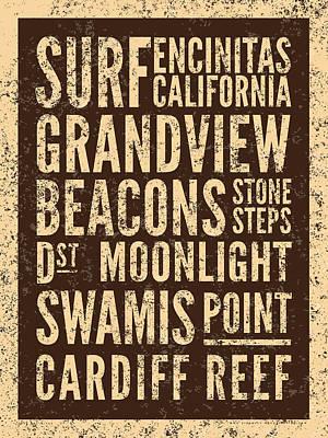 Digital Art - Surf Encinitas California by Mark Kingsley Brown