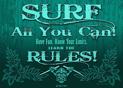 Surf Rules Teal Original by William Love