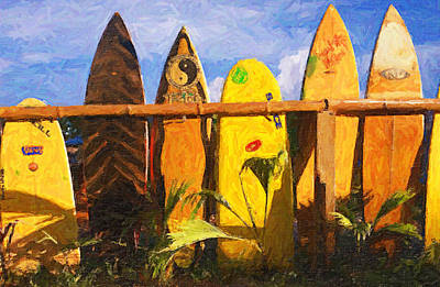 Surfboard Garden Print by Ron Regalado
