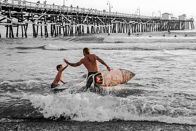 San Clemente Surfing Photograph - Surfboard Inspirational - Selective Color by Scott Campbell
