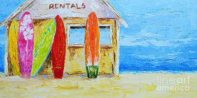 Long Sands Painting - Surf Board Rental Shack At The Beach - Modern Impressionist Palette Knife Work by Patricia Awapara