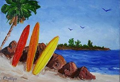 Surfboards On The Rocks Original by Bob Phillips