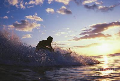 Surfer At Sunset Print by Bob Abraham - Printscapes