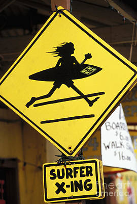 Haleiwa Photograph - Surfer Crossing Sign by Joe Carini - Printscapes