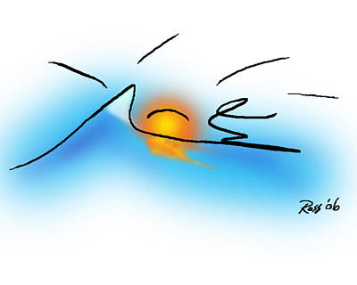 Digital Drawing Drawing - Surfer Dude by Ross Powell