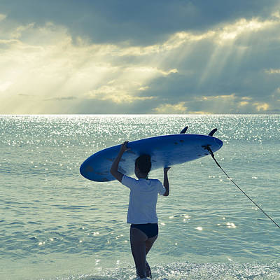 Golden Light Photograph - Surfer Girl Square by Laura Fasulo