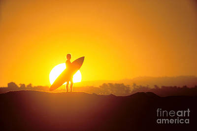 Surfer Silhouetted At Sun Print by Erik Aeder - Printscapes