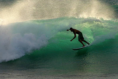 Surfer Surfing Blue Waves At Dumps Maui Hawaii Print by Pierre Leclerc Photography