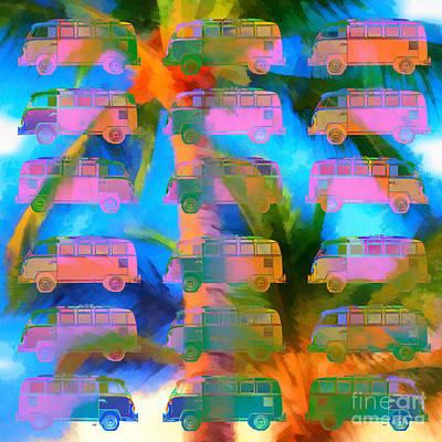 Bus Photograph - Surfer Van Palm Tree by Edward Fielding