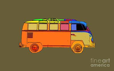 Surfer Van Transparent Print by Edward Fielding