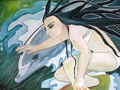 Dolphin Mixed Media - Surfers by Kimberly Kirk