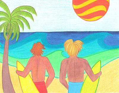 Sun Drawing - Surfers On Wave Watch by Geree McDermott