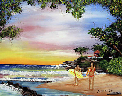 Surfing In Rincon Print by Luis F Rodriguez