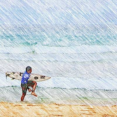 Drawing - Surfer In Aus by Daisuke Kondo