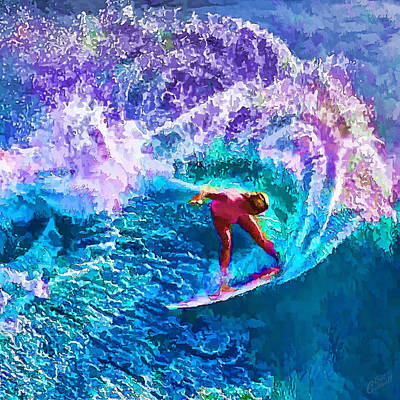 Manipulation Photograph - Surfs Like A Girl 1 by Bill Caldwell -        ABeautifulSky Photography