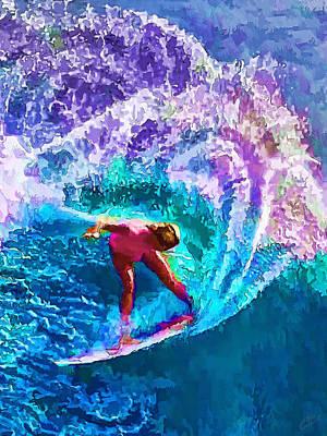 Manipulation Photograph - Surfs Like A Girl 2 by Bill Caldwell -        ABeautifulSky Photography