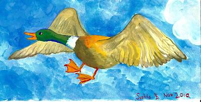 Sue Burgess Painting - Surprised Flying Duck Detail Of Duck Meets Fairy Ballet Class by Sushila Burgess