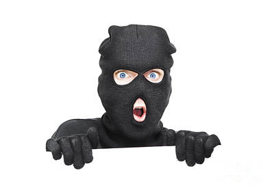 Hiding Photograph - Surprised Robber Holding Blank Security Sign by Jorgo Photography - Wall Art Gallery