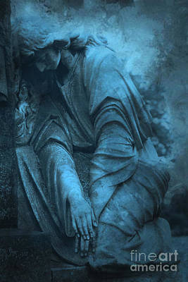 Crying Photograph - Surreal Cemetery Grave Mourner In Blue Sorrow  by Kathy Fornal
