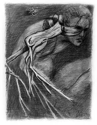 Surreal Drawing With Figure Cicada And Branch Original by Adam Long