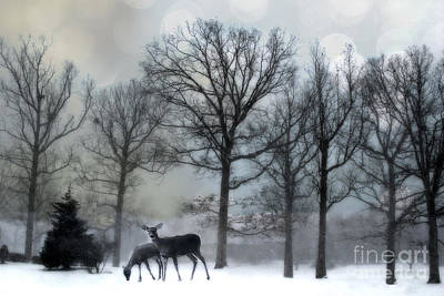 With Photograph - Surreal Dreamy Deer Herd Michigan Winter Snow by Kathy Fornal