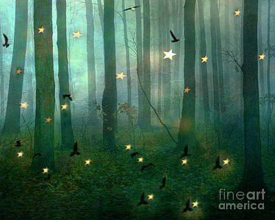 Surreal Dreamy Fantasy Nature Fairy Lights Woodlands Nature - Fairytale Fantasy Forest Woodlands  Print by Kathy Fornal