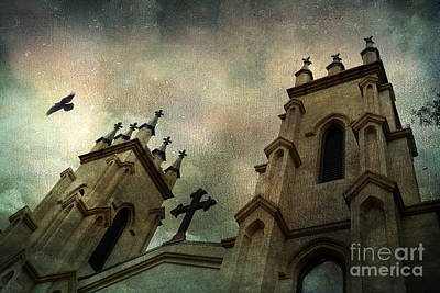 Ravens And Crows Photograph - Surreal Ethereal Gothic Church With Cross - Haunting Church Architecture by Kathy Fornal