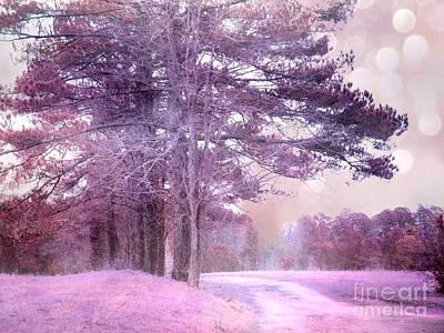 Surreal Fantasy Fairytale Purple Lavender Nature Landscape - Fantasy Lavender Bokeh Nature Trees Print by Kathy Fornal
