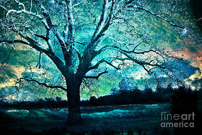 Surreal Fantasy Gothic Aqua Teal Blue Trees Nature Infrared Landscape Wall Art Print by Kathy Fornal