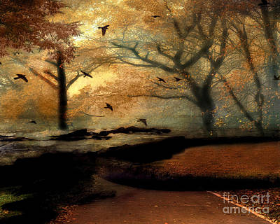 Surreal Fantasy Haunting Autumn Trees Ravens Print by Kathy Fornal