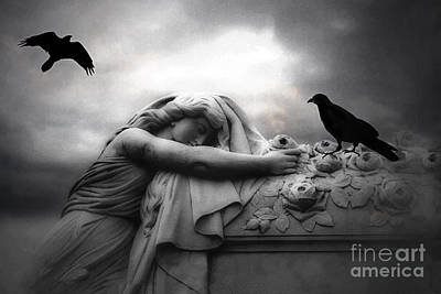 Ravens And Crows Photograph - Surreal Gothic Cemetery Angel Mourning Figure With Black Ravens  by Kathy Fornal