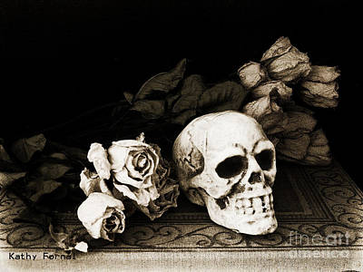Sepia Flowers Photograph - Surreal Gothic Dark Sepia Roses And Skull  by Kathy Fornal