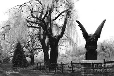 Gargoyle Photograph - Surreal Gothic Gargoyle Ice Storm Landscape by Kathy Fornal